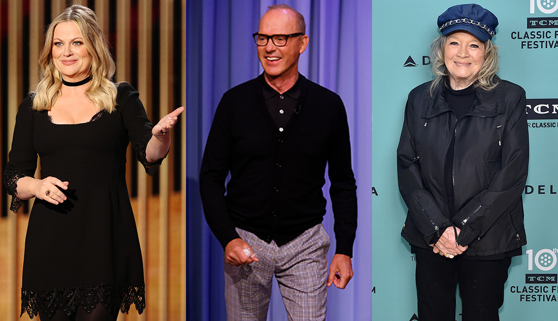 Side by side images of Amy Poehler, Michael Keaton and Angie Dickinson