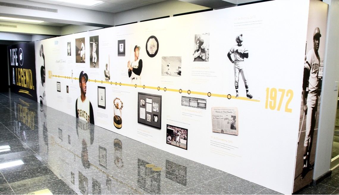 item 7 of Gallery image - The museum exhibit includes several timelines about Roberto Clemente's life and career