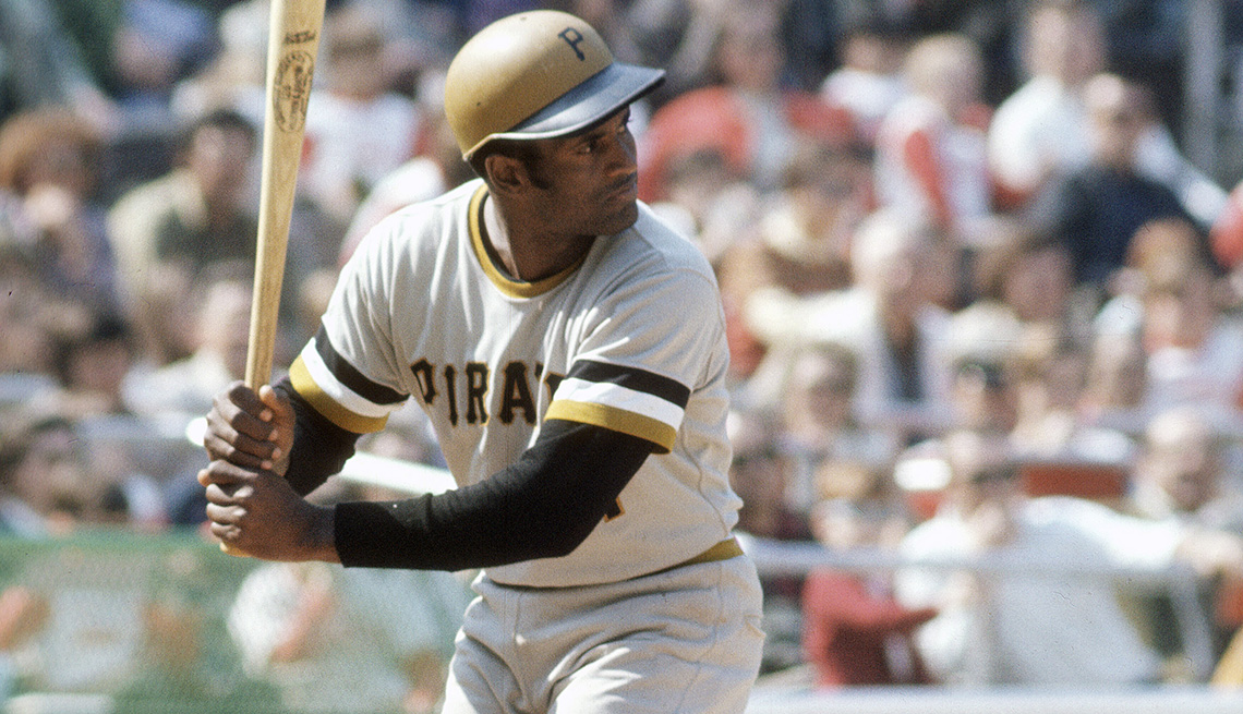 item 1 of Gallery image - Roberto Clemente batting in a Major League Baseball game in 1970