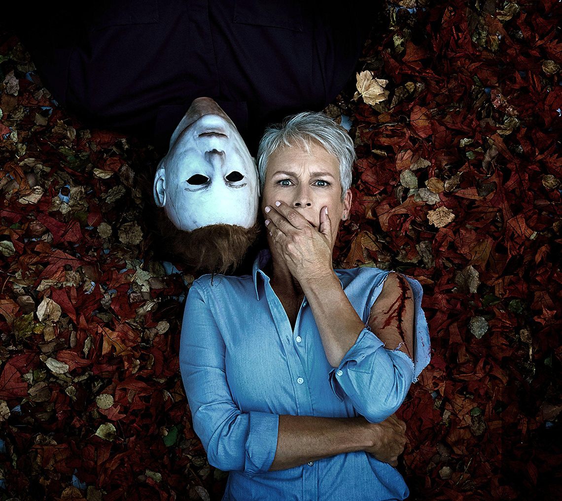 jamie lee curtis as laurie and nick castle as michael meyers in the movie halloween