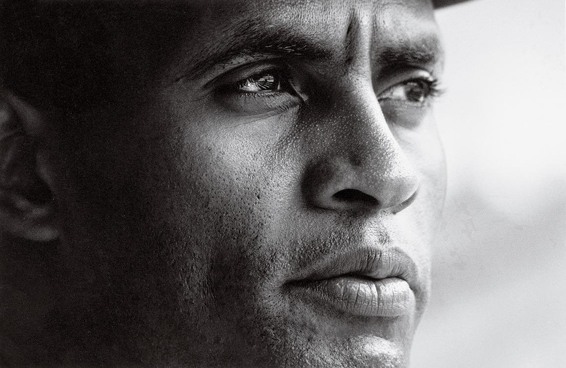 A closeup portrait of baseball player Roberto Clemente