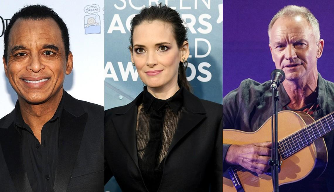 Un montaje de fotos de Jon Secada, Winona Ryder y Sting.