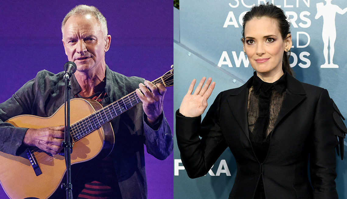 Side by side images of Sting and Winona Ryder