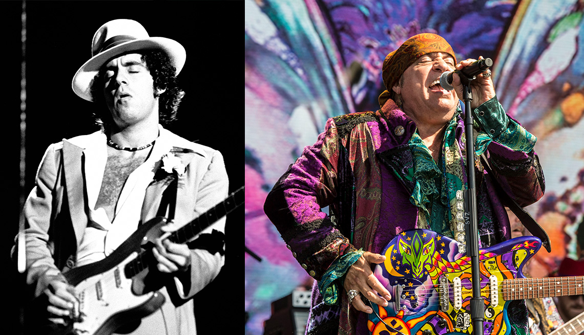 left stevie van zandt performing with bruce springsteen and the e street band and right stevie van zandt performing with little steven and the disciples of soul