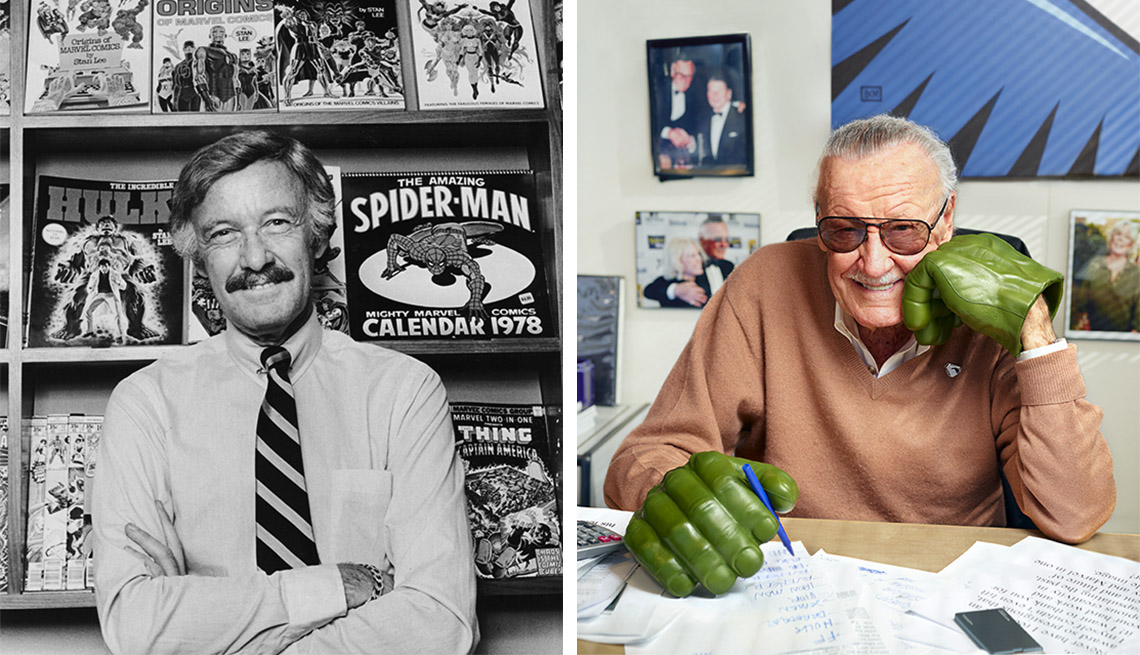 young stan lee in front of marvel comics books and older at his desk with hulk gloves