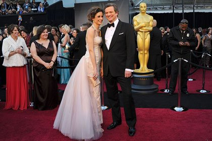 Colin Firth and wife at the Oscars