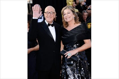 Geoffrey Rush and wife at the Oscars
