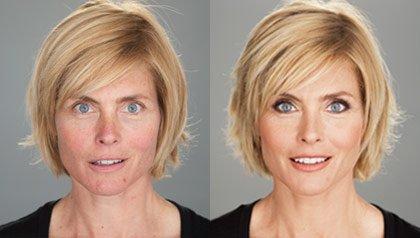 Modelo Kim Alexis sin maquillaje a la izquierda y con maquillaje a la derecha