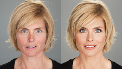 Kim Alexis without and with makeup