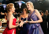 Edie Falco and Jane Lynch talk at the Screen Actors Guild Awards in 2011.