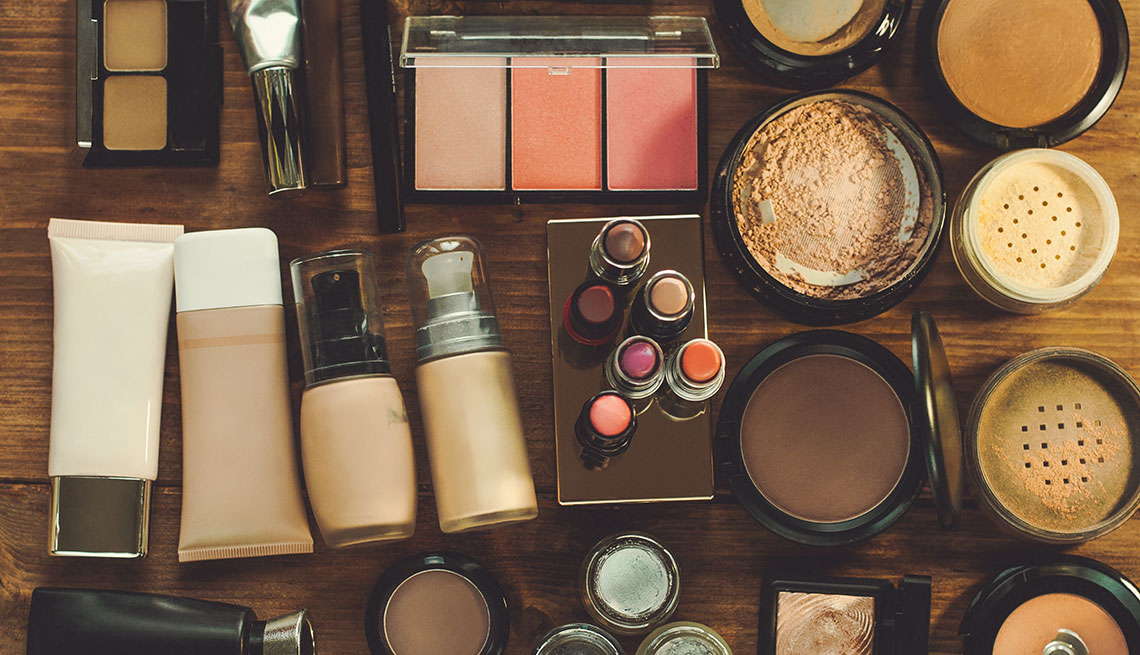 Make up spread on a table