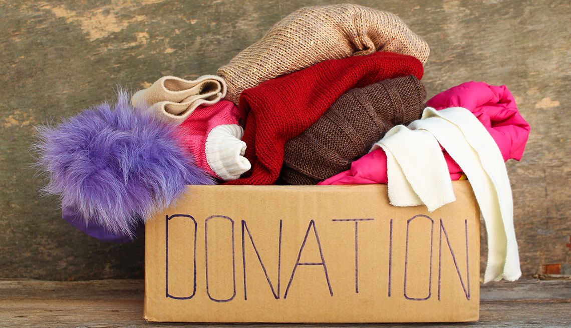 Old clothes put in a donation box