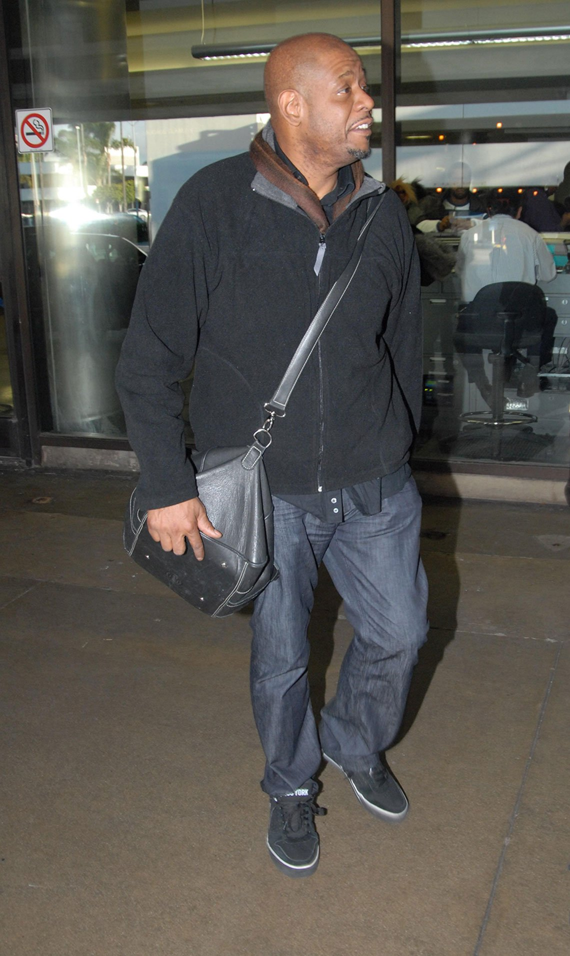 item 3, Gallery image. Forest Whitaker in relaxed straight jeans, button-down and fleece