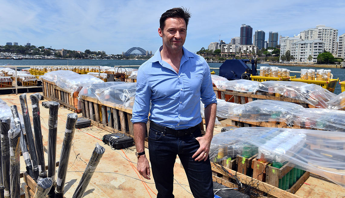 item 1 of Gallery image - Hugh Jackman in jeans that fit right at the natural waist