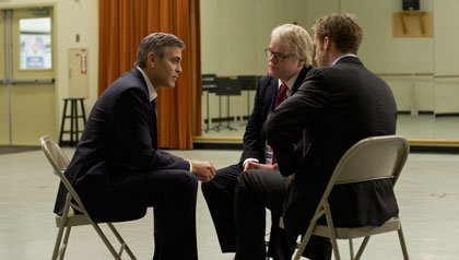 (l to r) George Clooney, Philip Seymour Hoffman and Ryan Gosling star in Columbia Pictures' 'Ides of March'