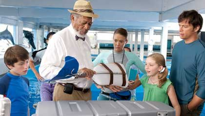 (L-r) Nathan Gamble as Sawyer Nelson, Morgan Freeman as Dr. Cameron McCarthy, Austin Highsmith as Phoebe, Cozi Zuehlsdorff as Hazel Haskett and Harry Connick Jr. as Dr. Clay Haskett in Dolphin Tale