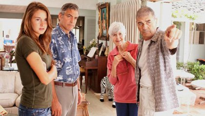 "Actors Shailene Woodley as ""Alexandra,"" George Clooney as ""Matt King,"" Barbara L. Southern as ""Alice Thorson"" and Robert Forster as ""Scott Thorson"" in ""The Descendents"""