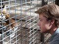 Matt Damon gets up close and personal with one of his new four-legged neighbors in