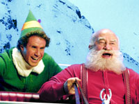Will Ferrell as Buddy and Ed Asner as Santa in the film,