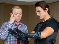 Simon Pegg y Tom Cruise en <i>Mission: Impossible - Ghost Protocol</i>