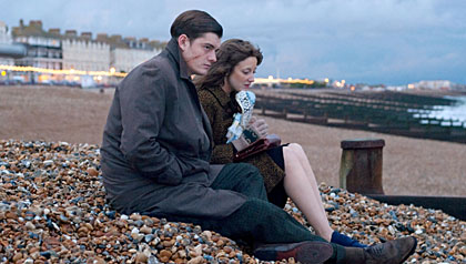 Brighton Rock Movie Review - From left: Sam Riley as Pinkie Brown, and Andrea Riseborough, as Rose.