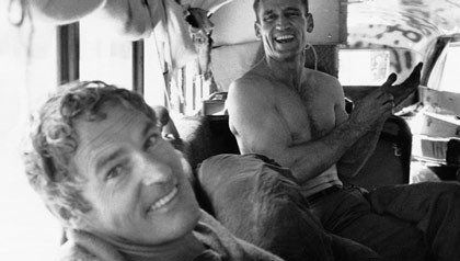 Psychologist Timothy Leary, left, and Neal Cassady in Bus, 1964, Millbrook, New York.