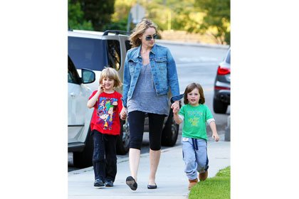 Sharon Stone walks with her two sons, Laird and Quinn, in California