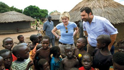 Sharon Stone participates in humanitarian mission in Uganda, 2009.