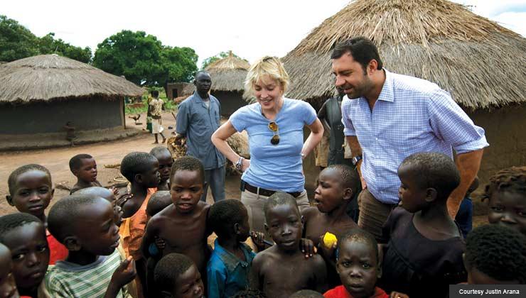Sharon Stone participates in humanitarian mission in Uganda, 2009.