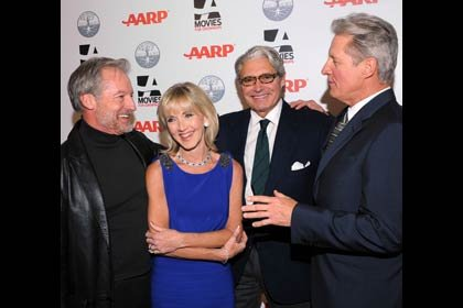 AARP The Magazine's 11th Annual Movies For Grownups Awards - Nancy Perry Graham with friend Perry King, left, host Michael Nouri and Bruce Boxleitner.