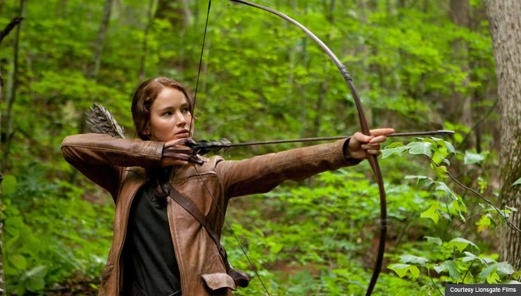 Jennifer Lawrence as Katniss Everdeen in The Hunger Games-AARP Movie Review