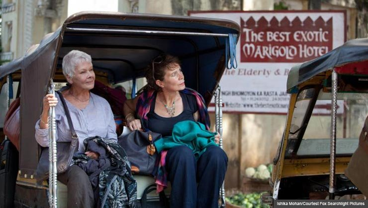 """Judi Dench as """"Evelyn"""" and Celia Imrie as """"Madge"""" in THE BEST EXOTIC MARIGOLD HOTEL."""