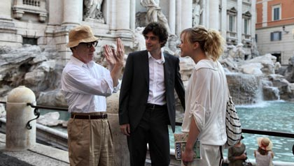 l-r: Woody Allen, Flavio Parenti and Alison Pill star in To Rome With Love