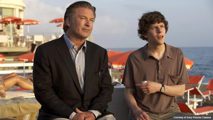 Left to Right: Alec Baldwin as John and Jesse Eisenberg as Jack in Woody Allen's To Rome With Love