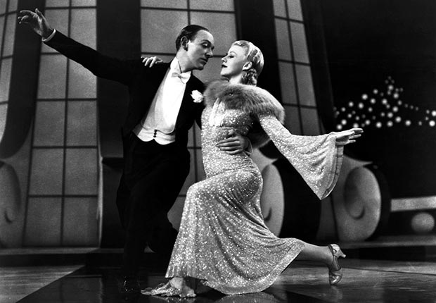 A scene from the 1936 film Follow the Fleet starring Fred Astaire and Ginger Rogers. For best movie couples slideshow.