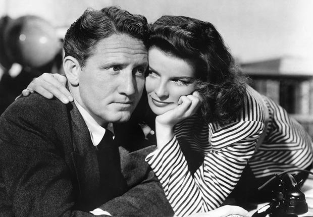 Spencer Tracy and Katherine Hepburn on the set of 'Woman of the Year' by George Cukor in 1942. For Best Movie Couples.