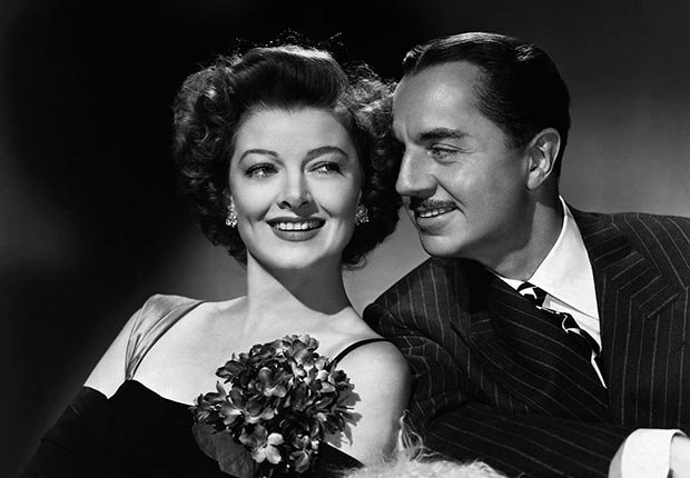 William Powell and co-star American actress Myrna Loy in the film 'The Thin Man Goes Homes' in 1944. For best movie couples slideshow.