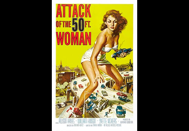 Movie poster from the Attack of the 50 ft. Woman, 1958.