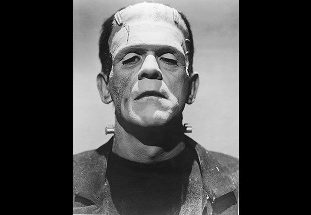 English actor Boris Karloff in full make-up for his role as The Monster in James Whale's horror films 'Frankenstein' and 'Bride of Frankenstein', circa 1935.  For the monsters we love slideshow.