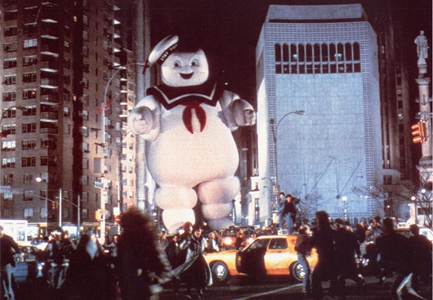 Ghostbusters character, Mr. Stay Puft, attacks the city.From our favorite movie monsters slideshow.