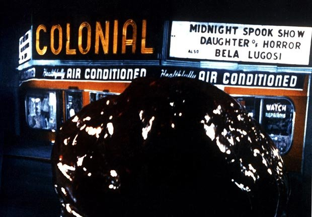 The BLOB, space alien globule attacks local movie theater, 1958. For the monsters we love slideshow.