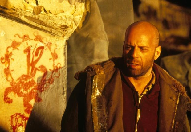 Twelve Monkeys (1995) Directed by Terry Gilliam Shown: Bruce Willis. For the Action Movies for Grownups slideshow.
