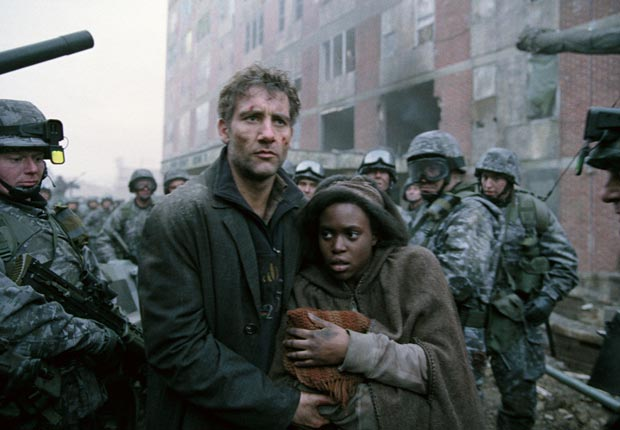 Children of Men (2006)  Directed by Alfonso Cuarón  Shown from left: Clive Owen, Claire-Hope Ashitey. For the Action Movies for Grownups slideshow.