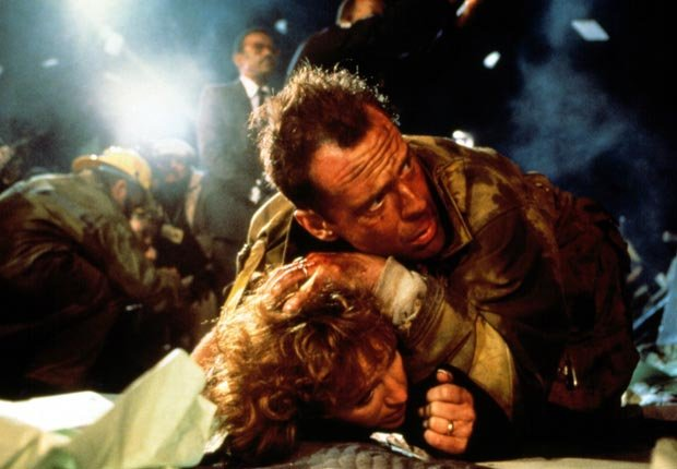 DIE HARD, Bonnie Bedelia, Bruce Willis, 1988. For the Action Movies for Grownups slideshow.