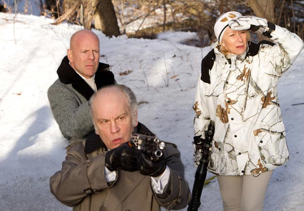 RED, from left: Bruce Willis, John Malkovich, Helen Mirren, 2010. For the Action Movies for Grownups slideshow.
