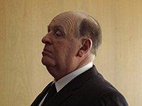 Anthony Hopkins en el set de la película Hitchcock. La película sigue la vida de Alfred Hitchcock durante el rodaje de su película Psicosis.