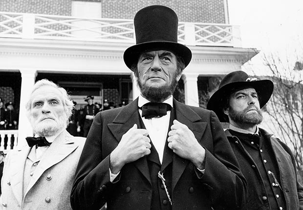 Gregory Peck in The Blue and the Grey, 1982, actors playing Lincoln