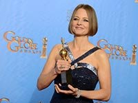 Actress Jodie Foster poses with Cecile B. DeMille Award, 70th Annual Golden Globe Awards