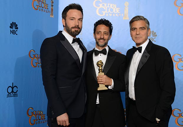 Ben Affleck, Grant Heslov, and George Clooney at 70th Annual Golden Globe Award