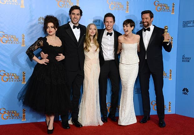 Cast members Helena Bonham Carter, Sacha Baron Cohen, Amanda Seyfried, Eddie Redmayne, Anne Hathaway, and Hugh Jackman of Les Miserables at 70th Annual Golden Globe Awards